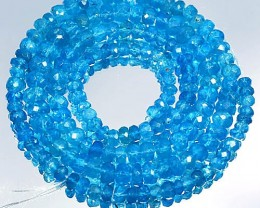 62.72Cts Bright Neon Blue Natural Appatite Beads 41cm