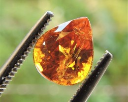 1.50ct ORANGISH BROWN TOURMALINE PEAR FACETED MOZAMBIQUE