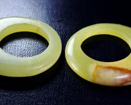 196 CT Natural Unheated Yellow Serpentine  Earrings Drap Pair