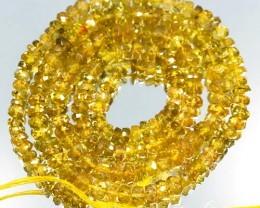 64.69Cts Bright Canary Natural Yellow Tourmaline Rondelle Beads 42cm