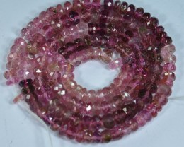 53.09Cts Raspberry Pink Colour Natural Tourmaline Rondelle Beads 38cm