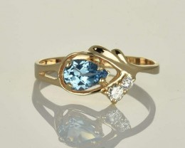 14k. Rose Gold Ring with Blue Topaz & Diamonds - SALE