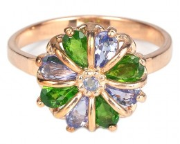 16.83cts Tanzanite Chrome Diopside 925 Sterling Silver Ring US 8