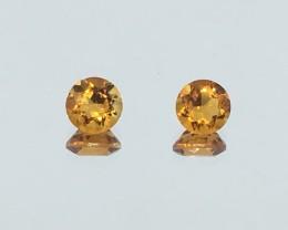 1.68 Carat Citrine Golden Yellow - Pair - Brazil