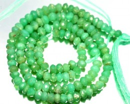 32.17Cts Pretty Green Natural Chrysoprase Rondelle Beads 33cm