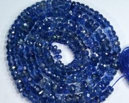 102.57Cts Corn Flower Blue Natural Kyanite Rondelle Beads 51cm
