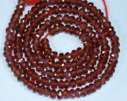 43.73Cts Natural Red Garnet Rondelle Beads 36cm