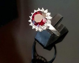 9k White Gold Ring with Almandite Garnet & White Sapphires - SALE