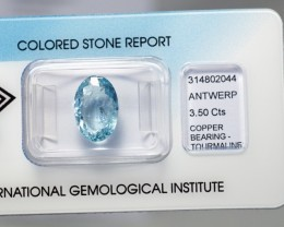 IGI Certificate Natural Copper Bearing Paraiba Tourmaline 3.50 ct