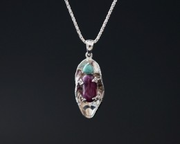 New Design Natural Stone Turquoise And Ruby 925 Sterling Silver Pendant 17.