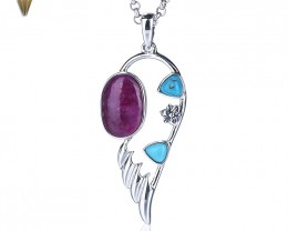 New Design Ruby And Natural Stone Turquoise Feather Shape 925 Sterling Silv