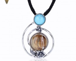 Natural Stone Clear Gold Rutilated Quartz And Turquoise Pendant