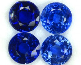 7.12 Cts Natural Royal Blue Kyanite 7 mm Round 4 Pcs Parcel Nepal