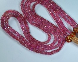 116.73Cts fluorescent  Pink Natural Spinel Rondelle Beads 42cm