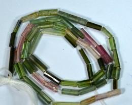 16.64Cts Fancy Tourmaline Beads Strands 35cm