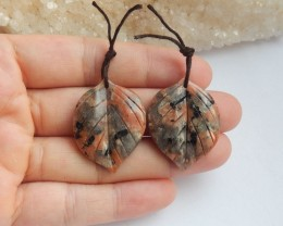 47.5ct Natural carved leaf shape jasper earring beads customized jewelry  (