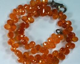 80.52Cts Fanta Natural Manderin Spessertite garnet Briolite Beads 20cm
