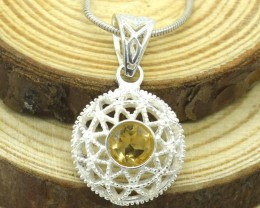 CERTIFIED  PENDANT 925 STERLING CITRINE SILVER NATURAL GEMSTONE JE1102