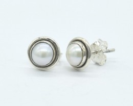 PEARL  EARRINGS 925 STERLING SILVER NATURAL GEMSTONE JE1112