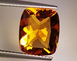 """4.20 ct """" Collector's Gem """" Amazing Cushion Cut Top Luster Citrin"""