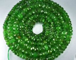 51.52Cts Untreated Natural Tsavorite garnet Rondelle Beads 44cm