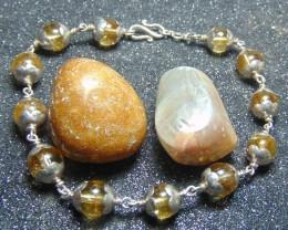 Antique designs ~ citrine bracelet ~ nice 98.5 silvers 73.25cts