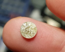 0.92ct 6.4mm Raw Champagne diamond round cut like druzy 6.4 by 2.5mm