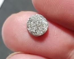 1.22ct 6.5mm Dark Grey diamond round cut like druzy 6.5 by 2.7mm