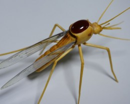 CARNELIAN CHALCEDONY WITH HANDMADE INSECT FROM INDONESIAN TEAK WOOD