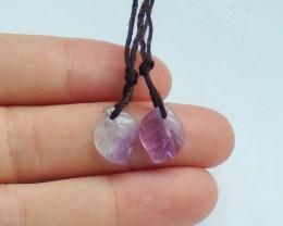 9ct Natural amethyst earring beads semi-precious stones (18091660)
