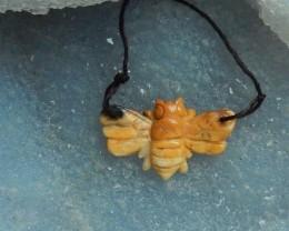 17ct Natural jasper carved  butterfly pendant semi-precious stones (1809165