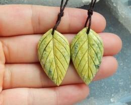 34.5ct Natural serpentine carved leave earrings semi-precious stones (18091