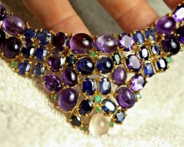 389.5 Carat Amerthyst Sapphire Sterling Gold Necklace - Gorgeous