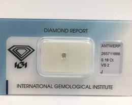 Certified Baguette Cut Diamond 0.18ct.