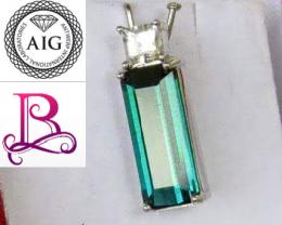 NR! AIG Certified 4.52 CT Blue Indicolite Tourmaline  Designer 18K Pendant