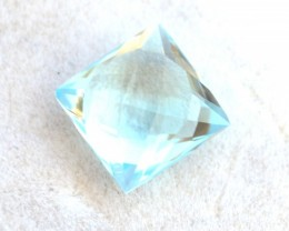 4.15 Carat Topaz -- Great Square Checkerboard Cut Sky Blue Stone