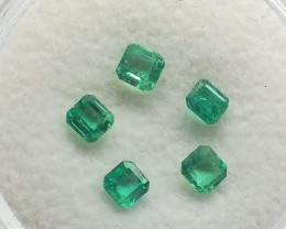 Certified Emeralds x 5 TCW 0.72