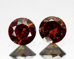 ~PAIR~ 0.13 Cts Natural Brownish Pink Diamond Round Africa
