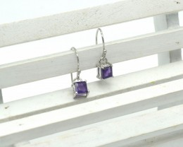 CERTIFIED  EARRINGS 925 STERLING SILVER AMETHYST NATURAL GEMSTONE JE1115