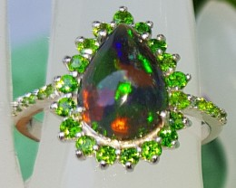 Opal with Chrome Tourmaline In Silver Ring