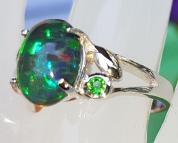 Opal / Chrome Tourmaline In Silver Ring