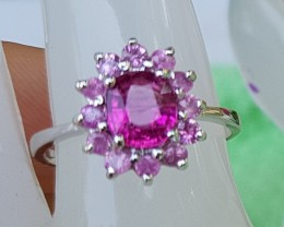 Rubelite with Pink Tourmaline In Silver Ring