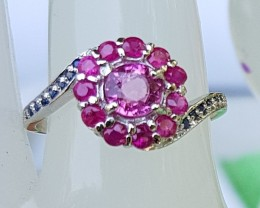 Pink Tourmaline with Sapphires In Silver Ring