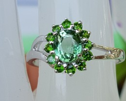 Green / Chrome Tourmaline In Silver Ring