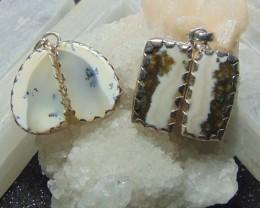 Pair designerAgates  stones  pure silver pendent  2 pcs 83.40 cts