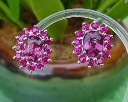 Malaya Garnet w/ Ruby in Silver Earings