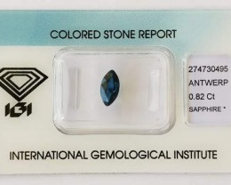 Certified Natural Sapphire 0.82ct.