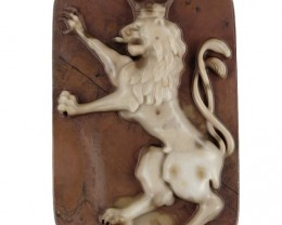 Cameo Carved Lion Natural Ribbon Jasper Focal Bead 130cts