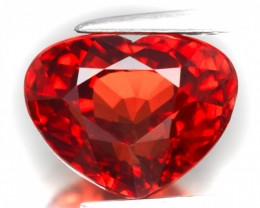 3.25ct Stunning Orange Red Spessartite Garnet Heart Cut VVS gem