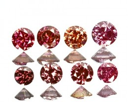 0.24 Cts Natural Brownish Pink Diamond 8 Pcs Round Cut Africa